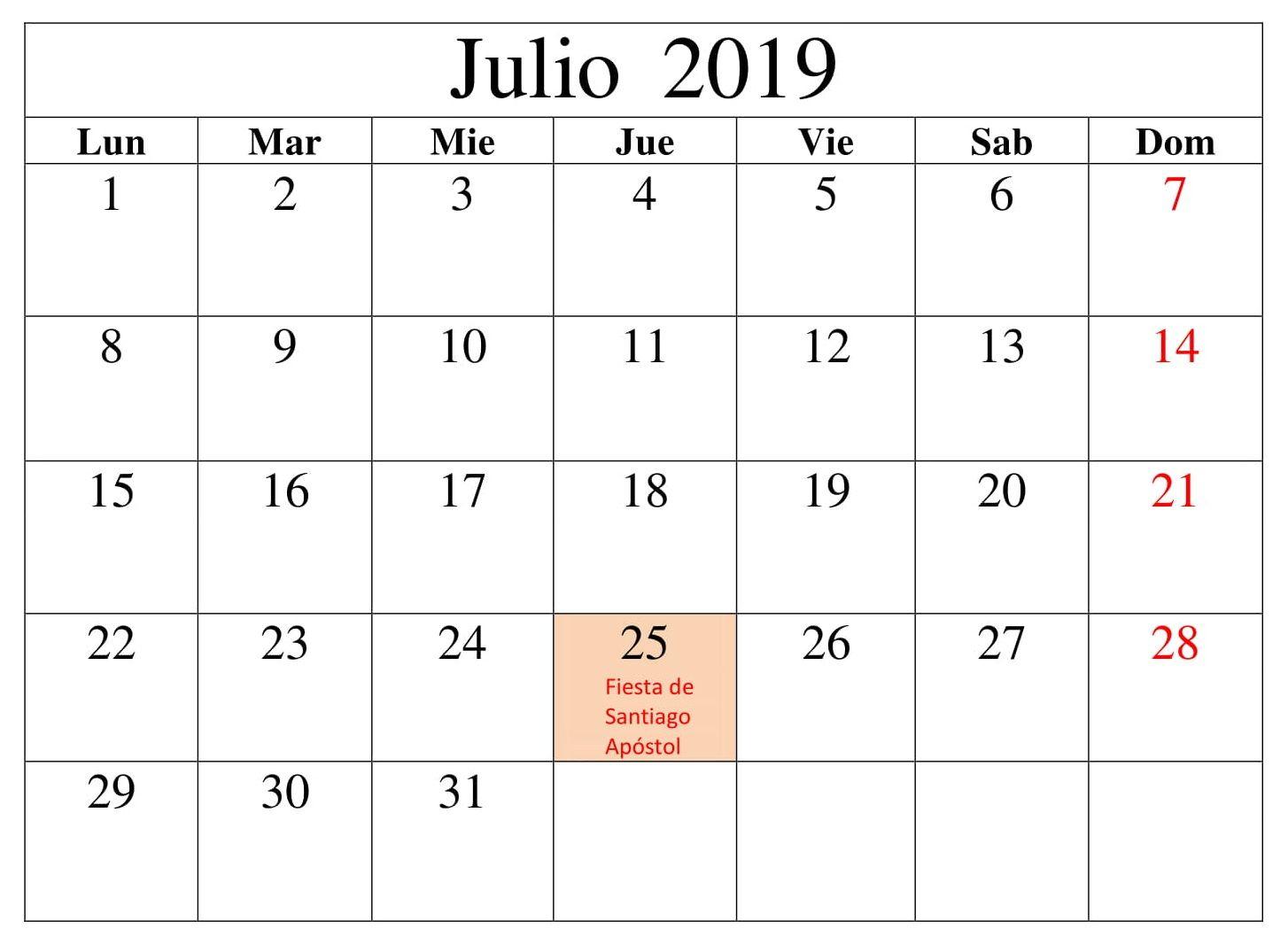 Calendario Con Excel.Julio Calendario Mensual 2019 Con Festivos Calendario
