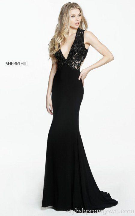 Beaded Sherri Hill 51078 Black Lace V Neck Prom Dress 2017