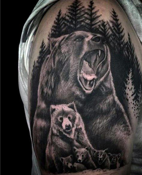 60 bear tattoo designs for men masculine mauling machine cubs rh pinterest co uk mother bear and cub tattoo mother bear and cub tattoo