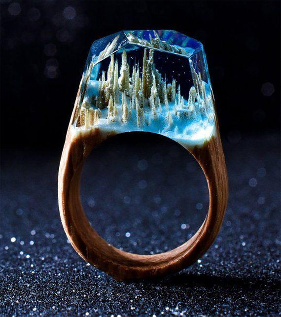Secret World Inside The Ring Wooden Rings For Women Wood