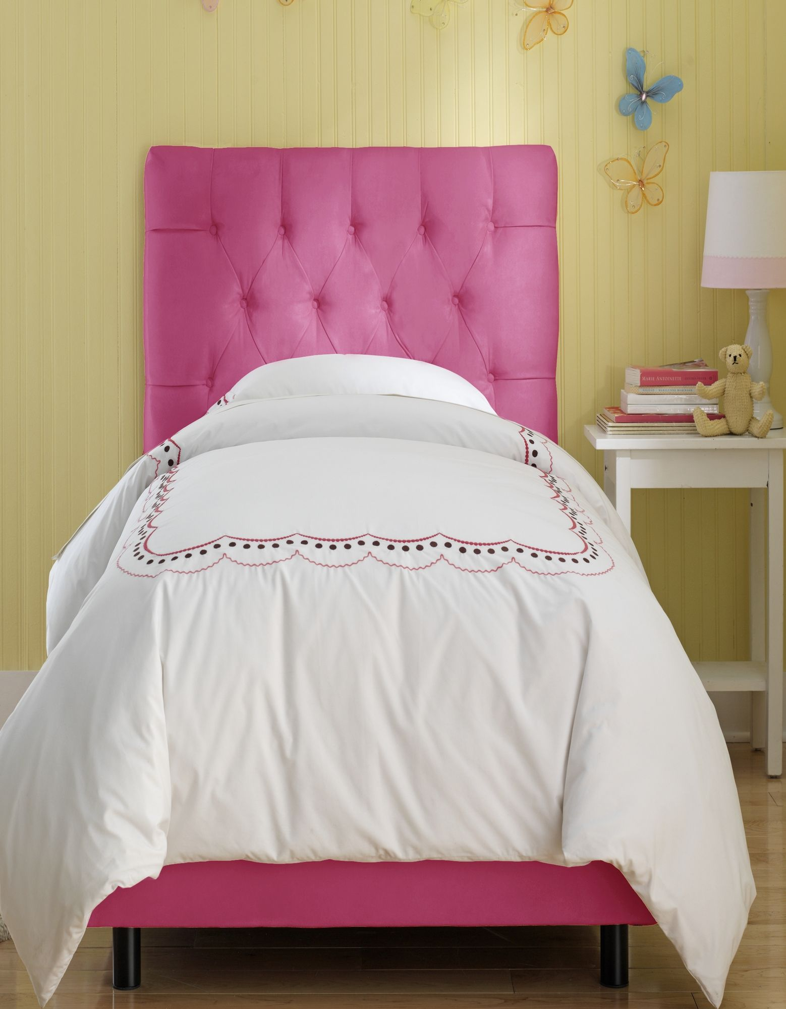 Skyline Furniture Tufted Micro Suede Youth Bed In Hot Pink