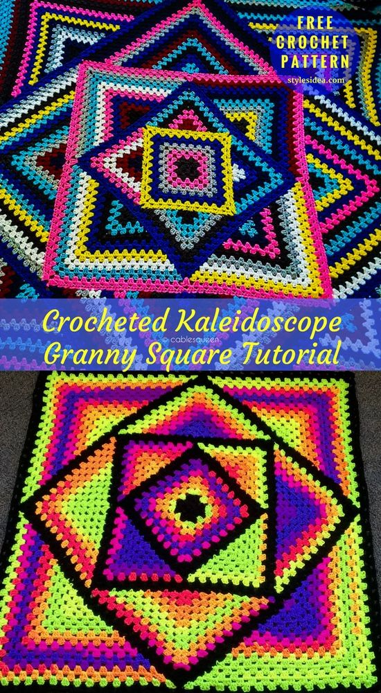 Kaleidoscope Granny Blankets Crochet Patterns Free | Pinterest ...