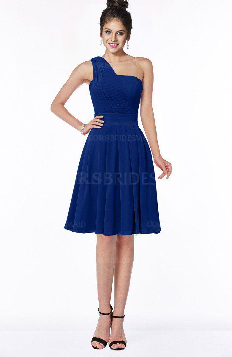 Sodalite blue cute aline sleeveless chiffon ruching bridesmaid