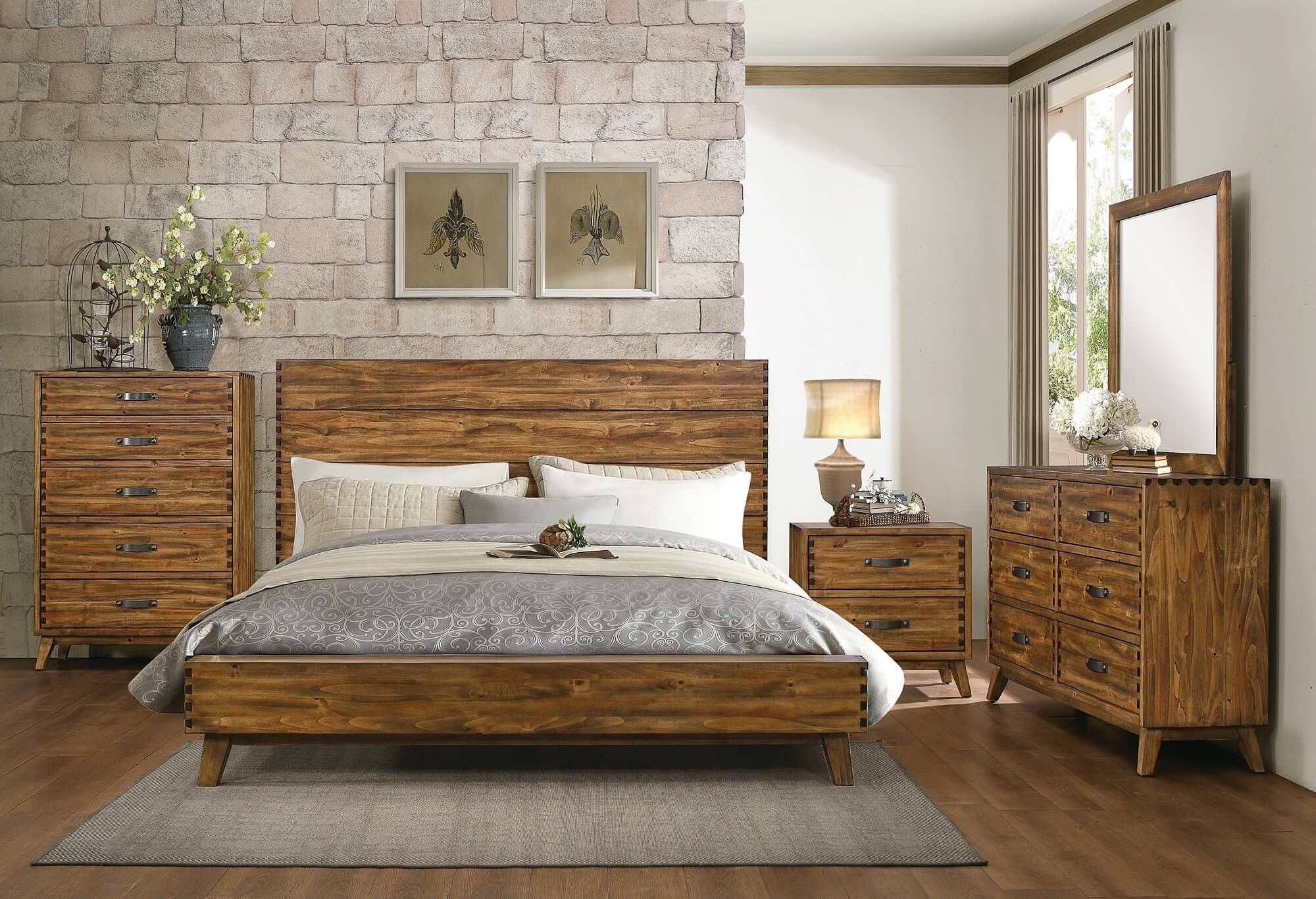 rustic bedroom furniture sets | Sorrel Rustic Solid Wood 5 Drawer ...