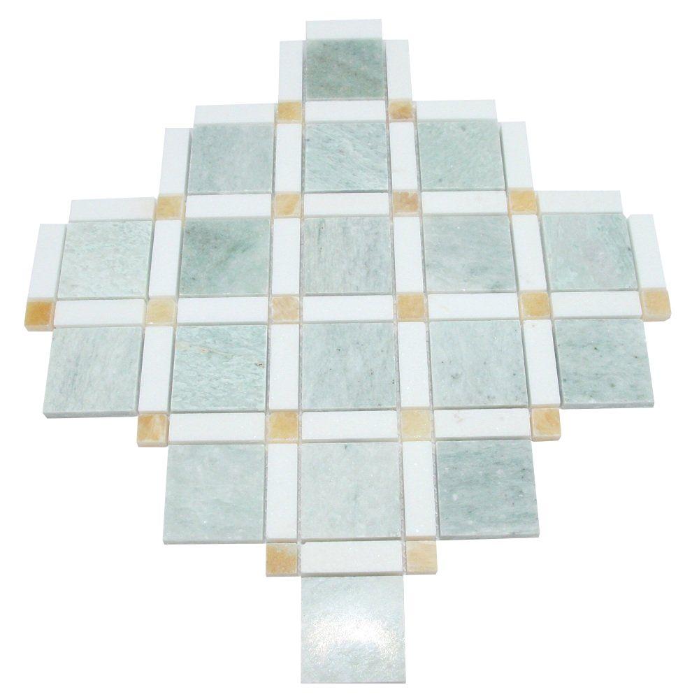 "Thassos White,Honey onyx  Polished Marble Mosaic in 12/"" x 12/"" Sheet Ming Green"