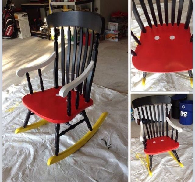 Chairs And More: Cute Mickey Mouse Child's Rocking Chair Upcycle.