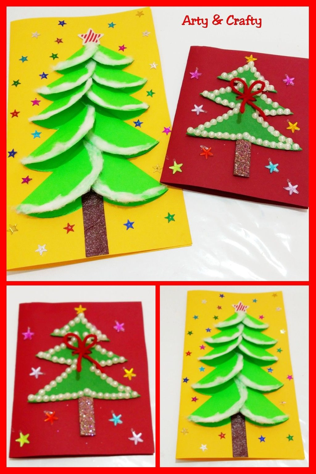 2 Diy Christmas Cards For Kids Easy Handmade Christmas Greeting Card Paper Ch Diy Christmas Cards Easy Christmas Greeting Cards Handmade Diy Christmas Cards