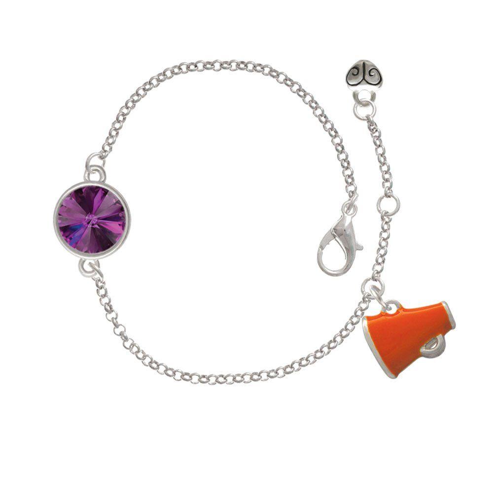 Small Orange Megaphone Delicate Amethyst Rivoli Crystal Bracelet