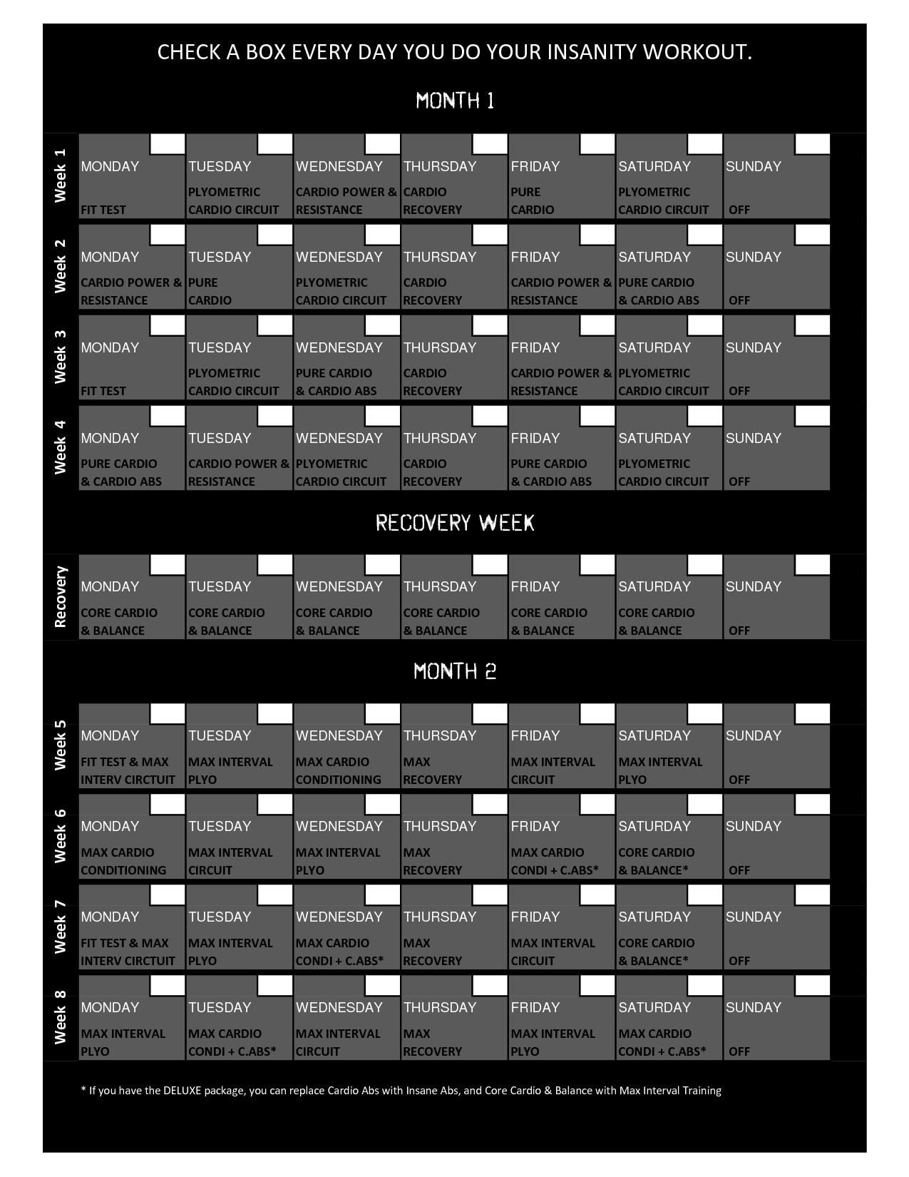 Insanity Workout Wall Calendar