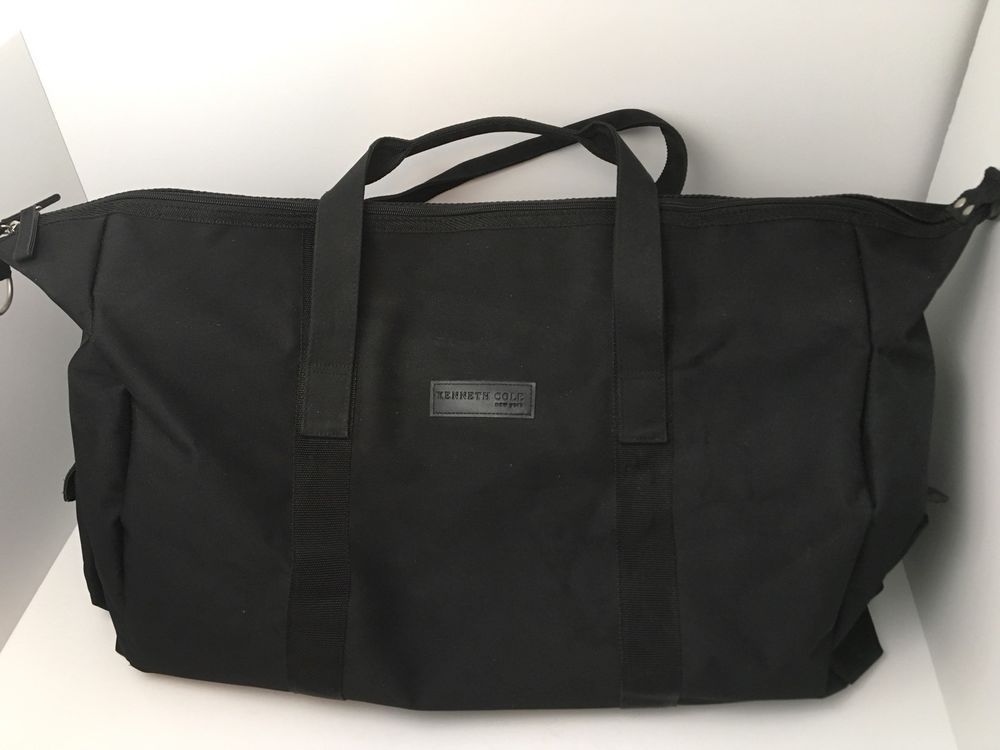 Kenneth Cole Black 24 Tote Carry On Nylon Bag Zip Top Excellent Kennethcole