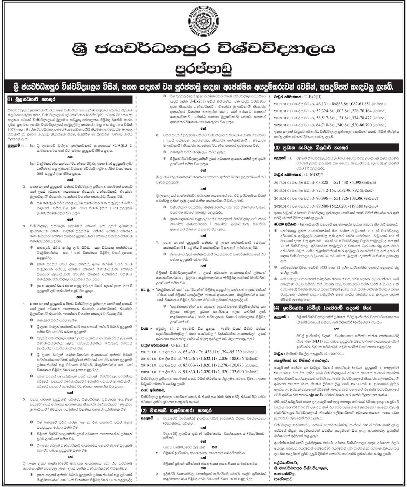 Sri Lankan Government Job Vacancies At University Of Sri