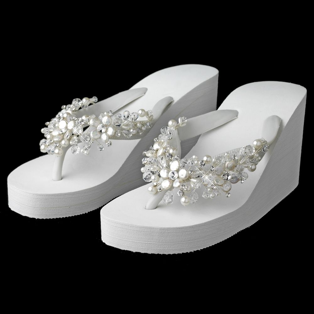 3940c68e1 Gorgeous High Wedge Bridal Flip Flops with Crystal and Coin Pearl Accents -  Affordable Elegance Bridal -