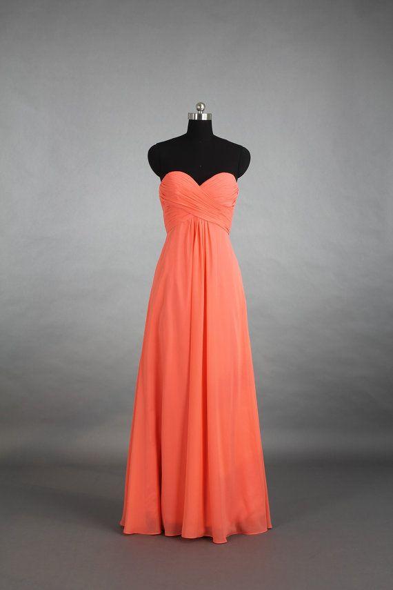 Cheap Bridesmaid Dress, Coral Sweetheart Chiffon Bridesmaid Dress, Long Chiffon Bridesmaid Dress on Etsy, $99.00