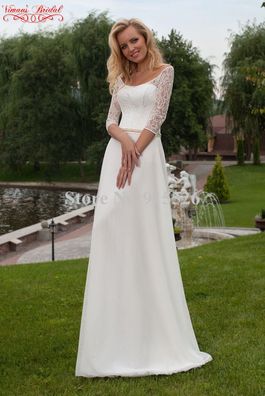 Country style lace wedding dress   Vimanus Bridal White Satin Beach Wedding Dress Appliques Lace