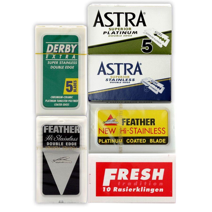 60pc safety razor blade sampler derby fresh astra