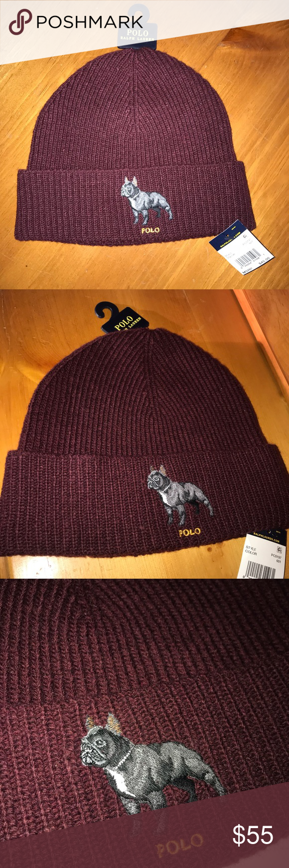 cb09c94635faf Polo Ralph Lauren French Bulldog Beanie Maroon 100% Authentic Ralph Lauren  Product 🍷Wine Red Colorway🍷 Brand New with Tags Polo by Ralph Lauren ...