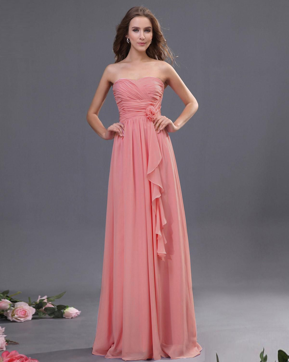 Sweetheart Floor Length Bridesmaid Dress With Floral waistline in ...
