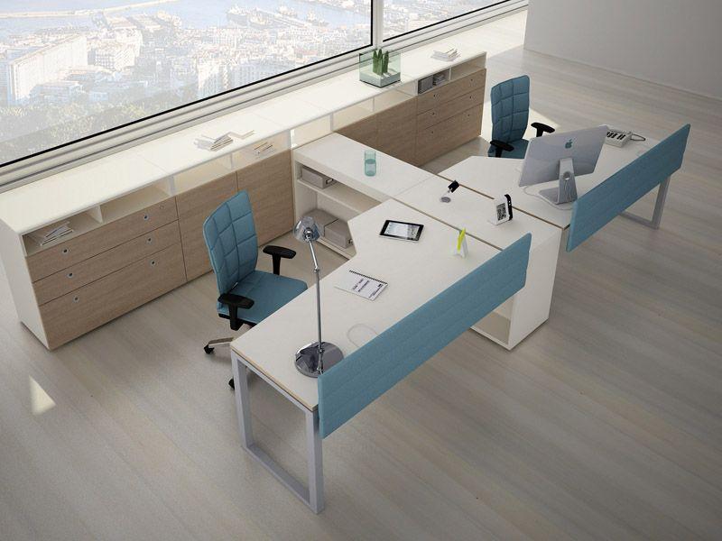 Escritorio de oficina operativo con estantes joint by for Distribucion de oficinas modernas