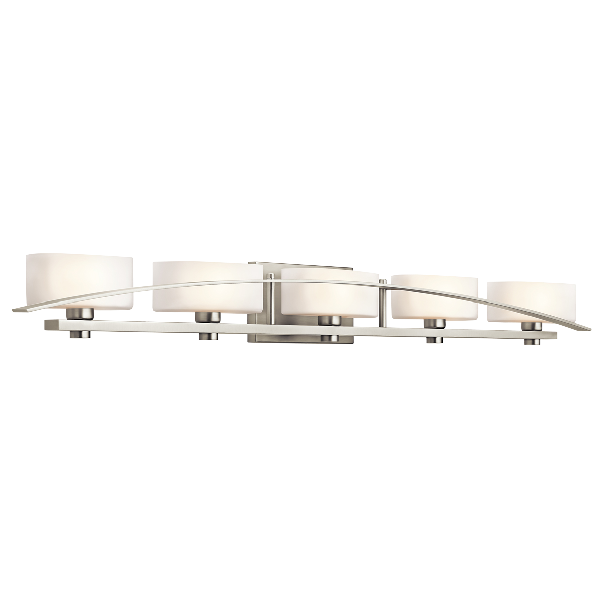 Kichler Suspension 5 Light 51 Wide Vanity Bathroom Fixture With Etched Gl Shades Brushed Nickel