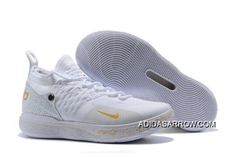 2a41f8b22a1b30 Men s Nike KD 11 White Chrome-Pure Platinum Basketball Shoes in 2019 ...