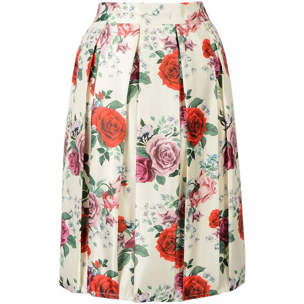 Choies Beige Rose Floral Print Midi Skirt ($24) ❤ liked on Polyvore featuring skirts, beige, rose skirt, floral skirt, calf length skirts, floral knee length skirt and beige midi skirt