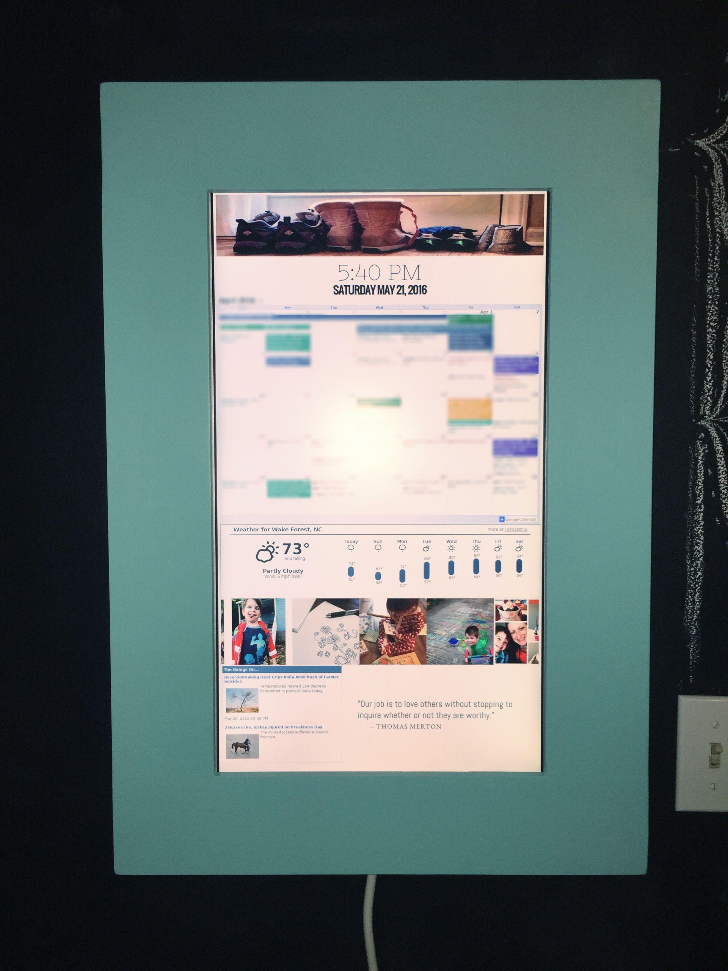 my version of the raspberry pi wall mounted google calendar