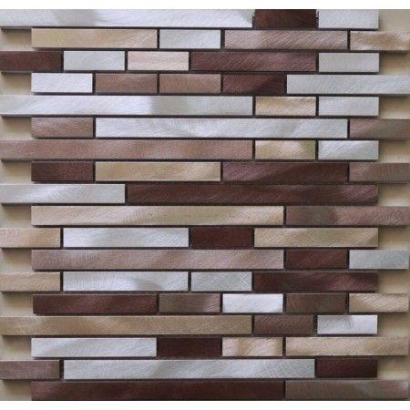 brushed aluminum mosaic tiles interlocking tiles wall