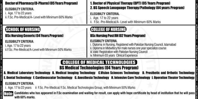 NUMS ENTRY TEST FOR UG ALLIED HEALTH SCIENCES ADMISSIONS 2017 - medical certificate from doctor