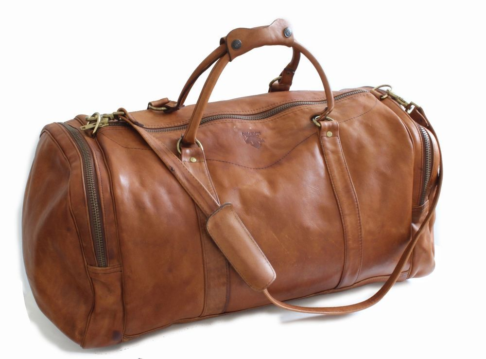 DESCENTE Leather Duffel Bag Large Sports Travel Gym Bag with Shoulder Strap  Rare  Descente  DuffleGymBag  d9d3bd3b59400