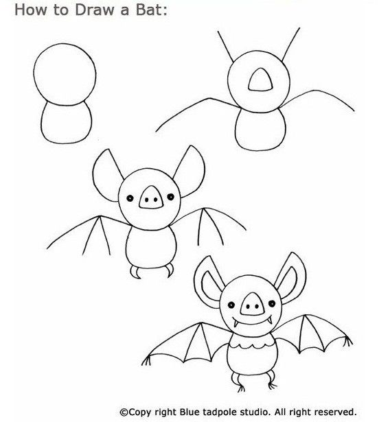 Tekenboek Vleermuis Easy Drawings Drawings Halloween Drawings