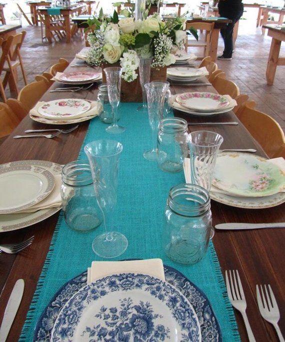 Aqua Burlap Table Runner Aqua Blue Wedding Decor Beachy Table