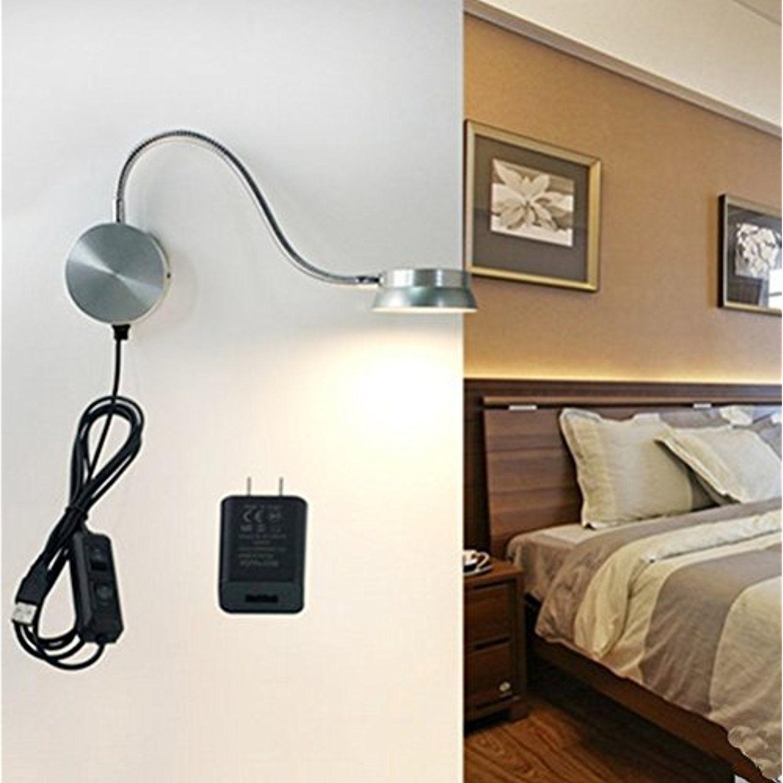 LED Wall Lamp 6W Gooseneck Reading Light USB