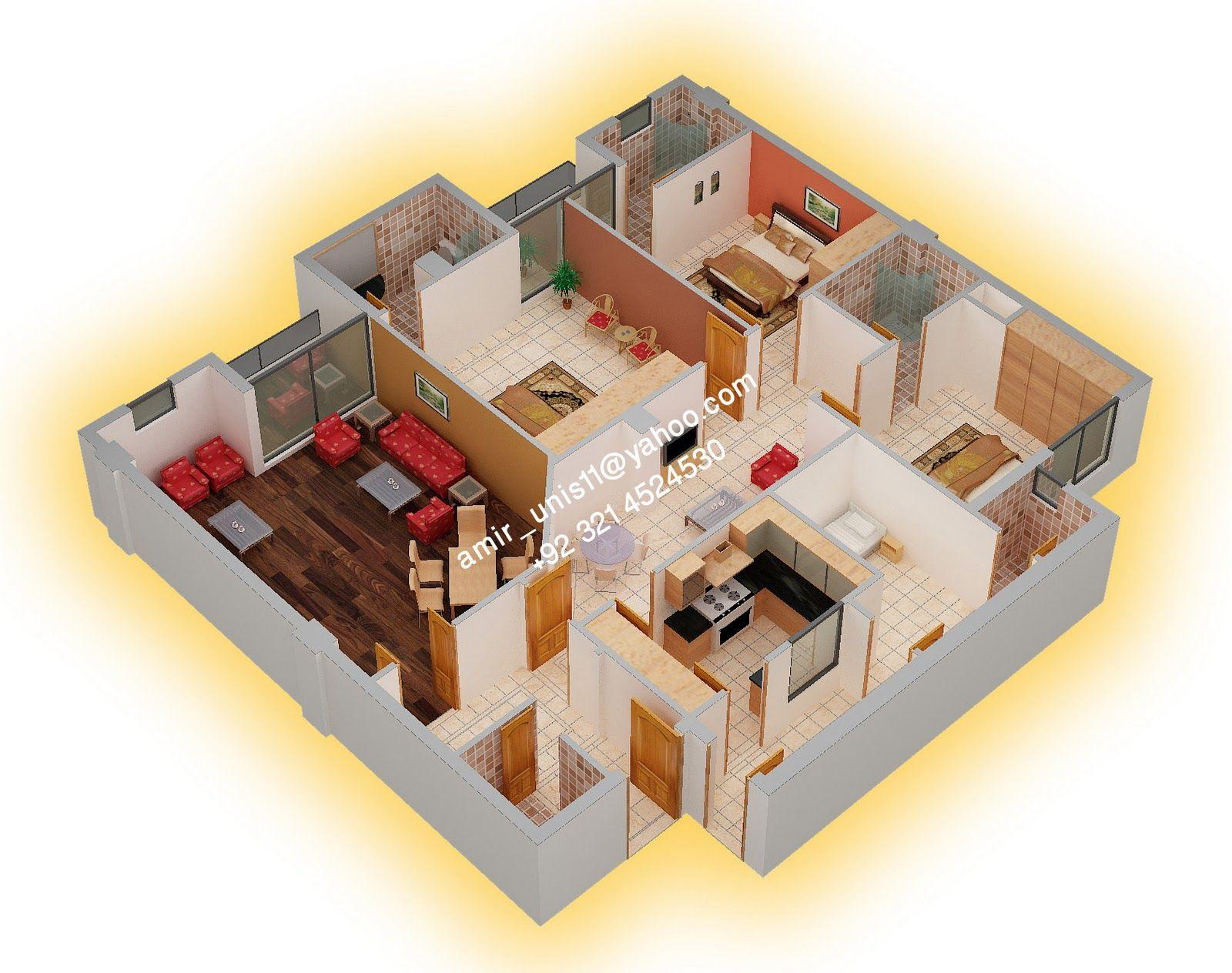3d home design ground floor. unit  by Amir Younis Pakistan 4 bedroom 3 5 bath A D