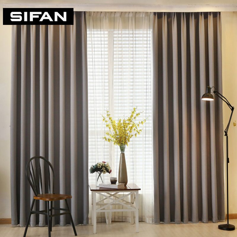 Solid Color Faux Linen Blackout Curtains For Living Room Modern Curtains  For Bedroom Window Curtains Kitchen