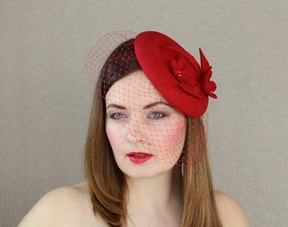 Red Wool Felt Pillbox Hat with Birdcage Veil by RUBINA Millinery  red   pillbox  hat  fascinator  birdcageveil  wedding  valentine  rubinamillinery 9e5c5aed678