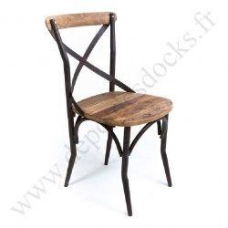 Chaise Bistrot Vintage Industrielle Mtal Vieux Bois