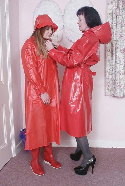3e60fb650488 Shiny Red PVC Raincoats
