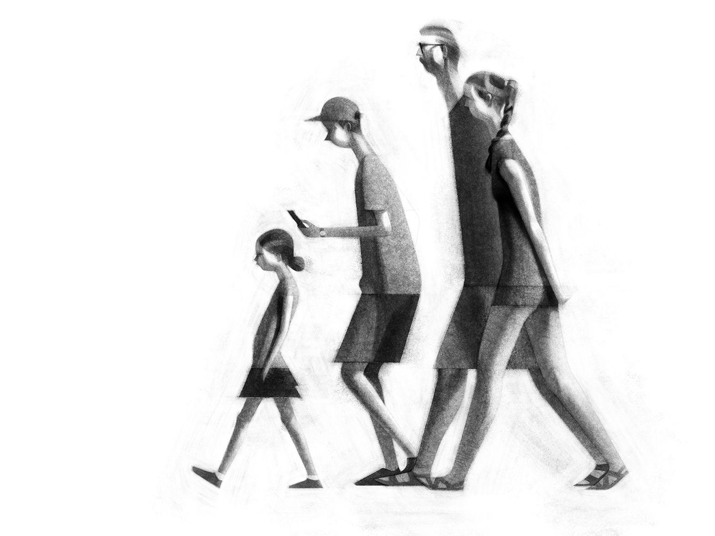People Walking   illustration    Cartoon drawings of people, Walking