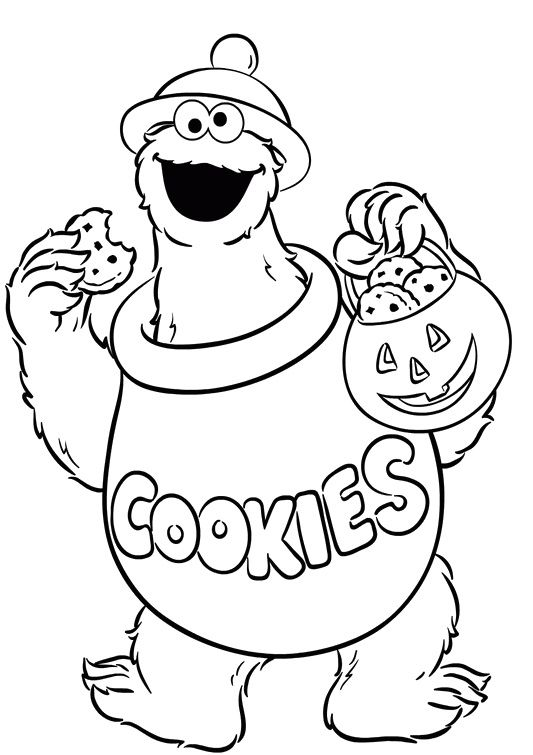 Cookie Monster Was Carrying Delicious Cake Coloring Pages Monster Coloring Pages Sesame Street Coloring Pages Halloween Coloring Pages