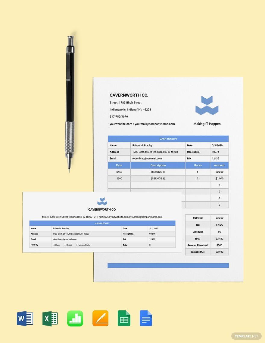 It Cash Receipt Template Free Pdf Word Excel Apple Pages Apple Numbers Receipt Template Templates Free Receipt Template