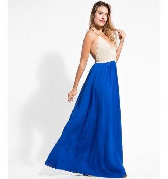 2810e3a98641 Μάξι Φόρεμα με Πλεκτό Μπούστο - Μπλε Ρουά