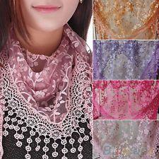 Beautiful Tassel Lace Rose Floral Knit Triangle Hollow Mantilla Scarf Shawl Wrap