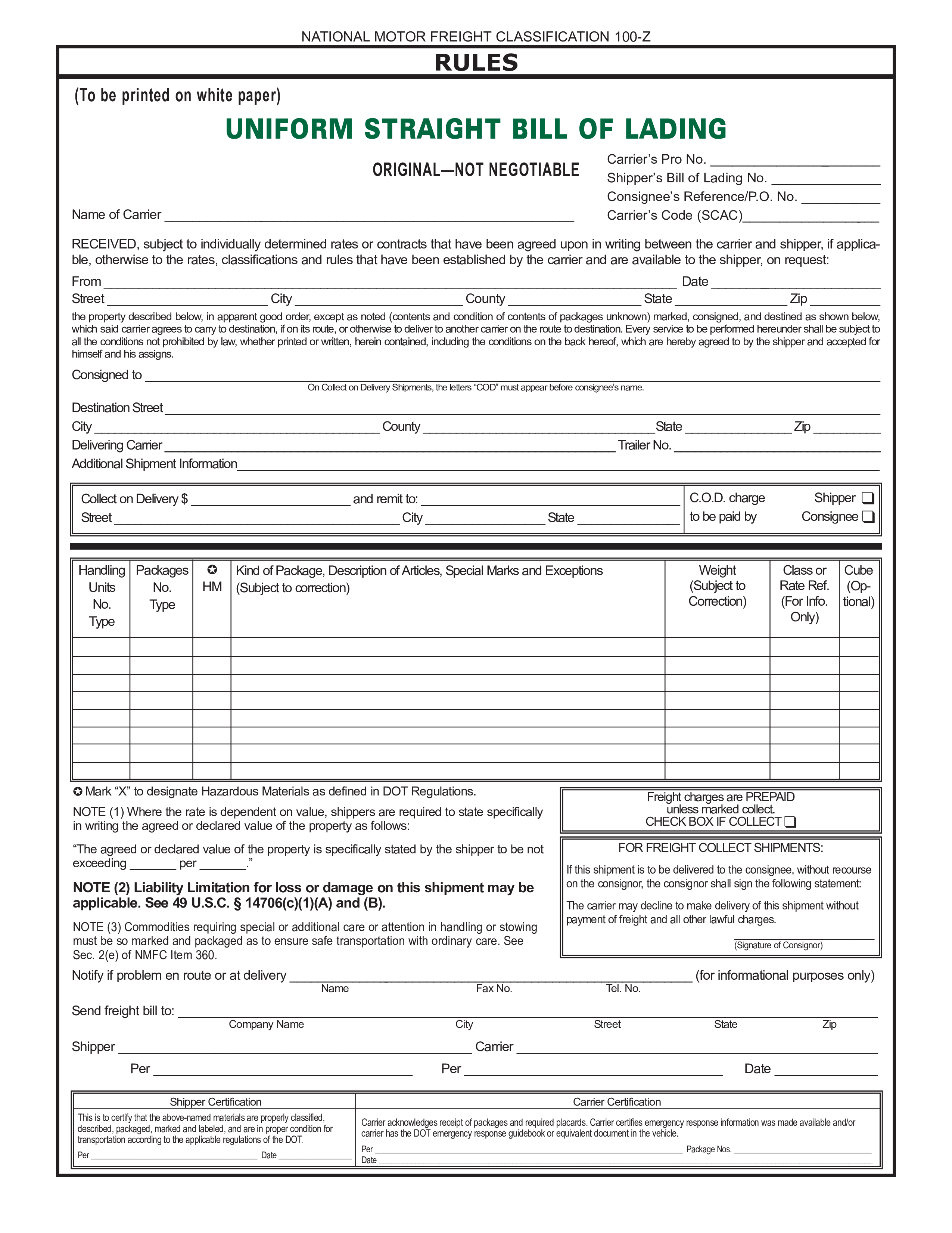 Straight Bol How To Create A Straight Bol Download This Straight Bol Template Now Bill Of Lading Bills Business Template
