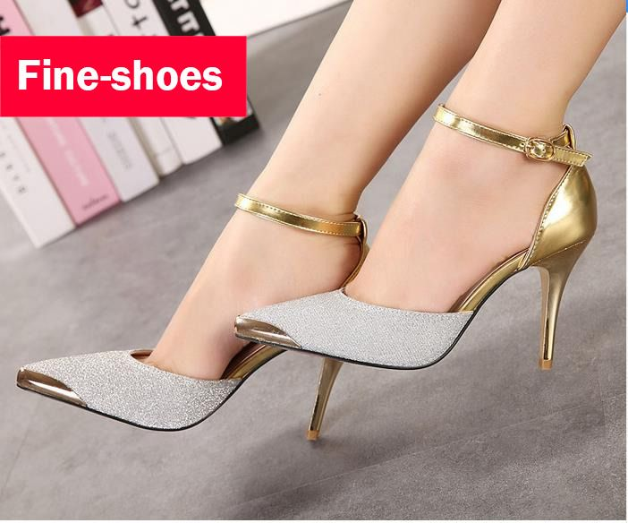 cd7c81fa6c5 Thin High Heels Women Pumps Sexy Glittery Leather Bright Mental Gold pointed  Toe Shoes Mixed Color