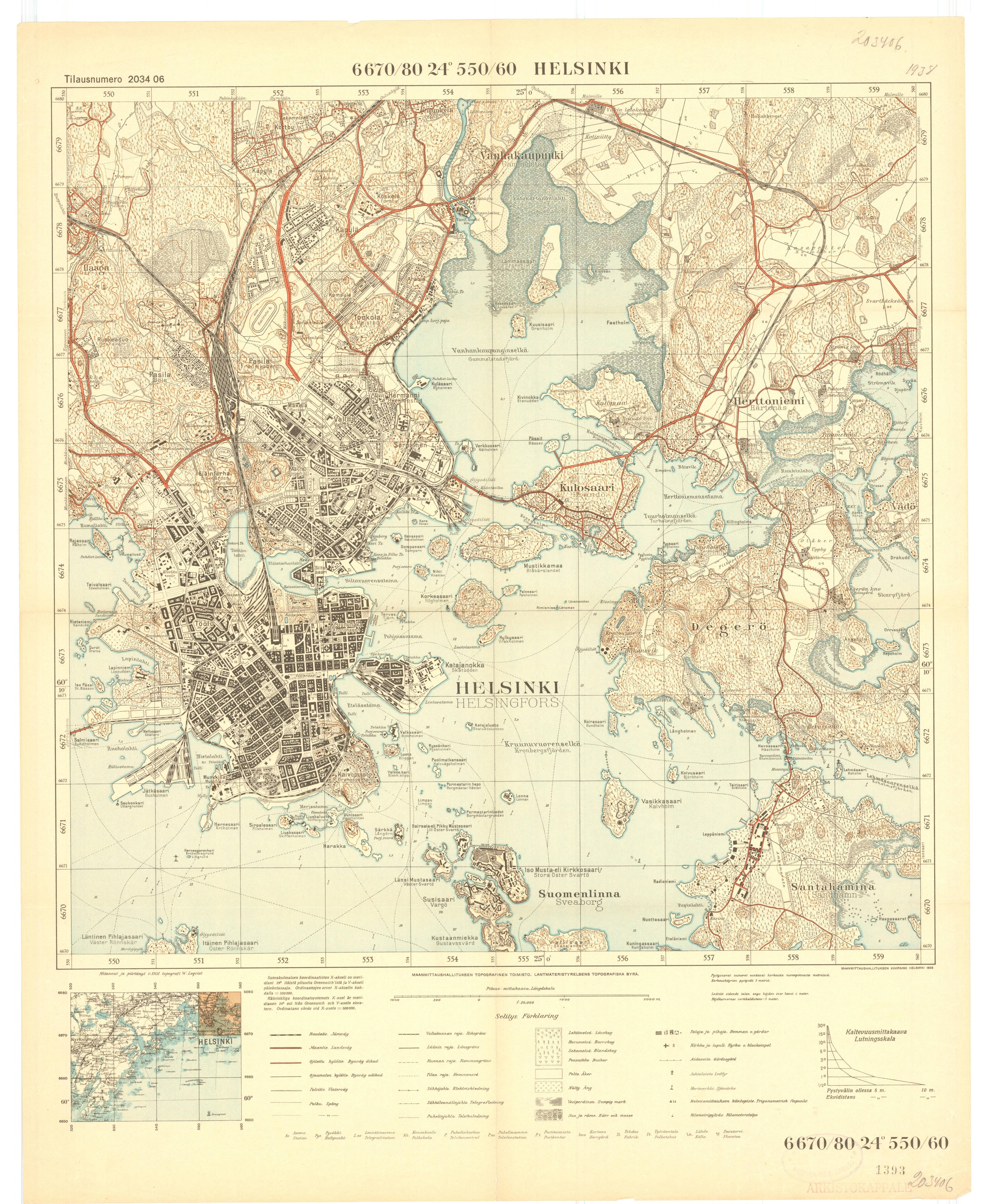 Wood Elevation Maps : Topographic map of helsinki by national land survey