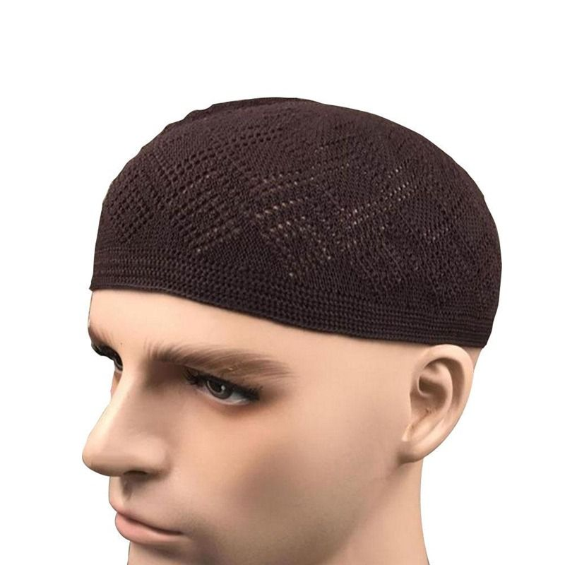 Men Adults Cotton Knitting Hats Men s Skull Cap Muslim Islamic Prayer Hat  Head Wear Solid Casual c359378f6dd8