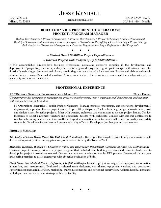 Executive Format Resume Template Operations Executive Resume Samples  Resume  Pinterest