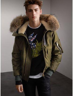 Raccoon Fur and Shearling Hood Duck down Jacket   Stylish