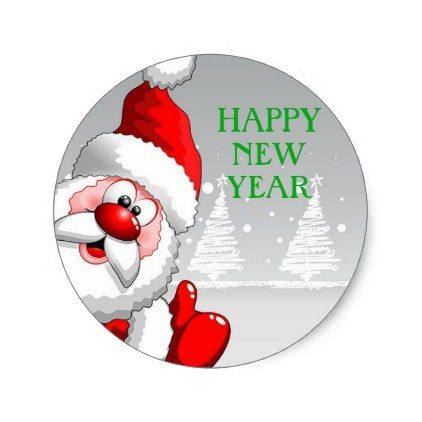 Santa happy new year round sticker new years eve happy new year designs party celebration