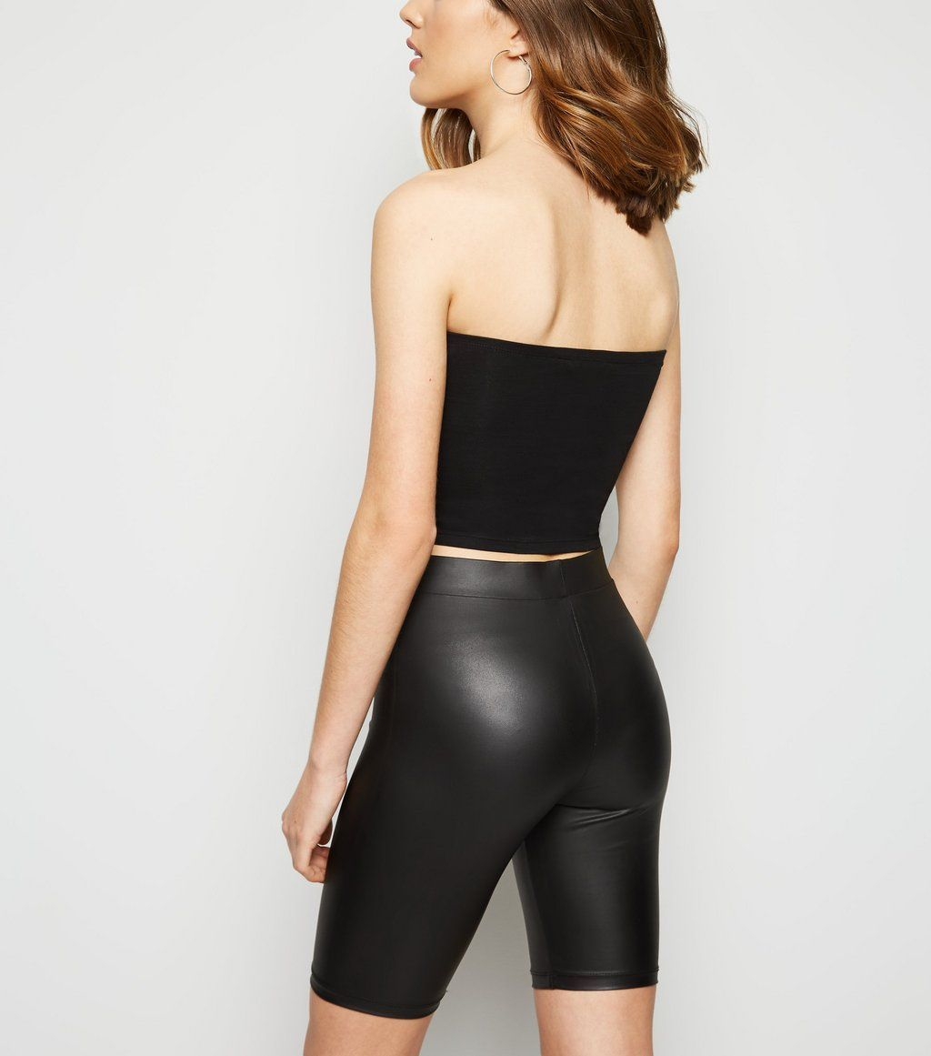 Black wet look cycling shorts in 2019